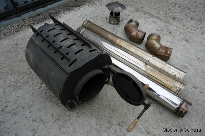 Российская отопительно-варочная печь Тулинка НВУ-50 (типа Булерьян) мощностью 3,8 кВт и весом 18 кг. Предназначена для отопления помещений до 50 м³. Стоимость - 6600 руб.