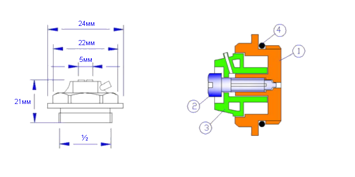 1 – латунный корпус, 2 – латунный или стальной винт, 3 – пластиковая крышка-колпачок с воздухоотводным каналом, 4 – уплотнительное кольцо.