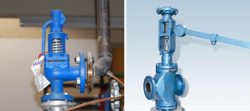Основные типы предохранительных клапанов: пружинный, рычажно-грузовой.