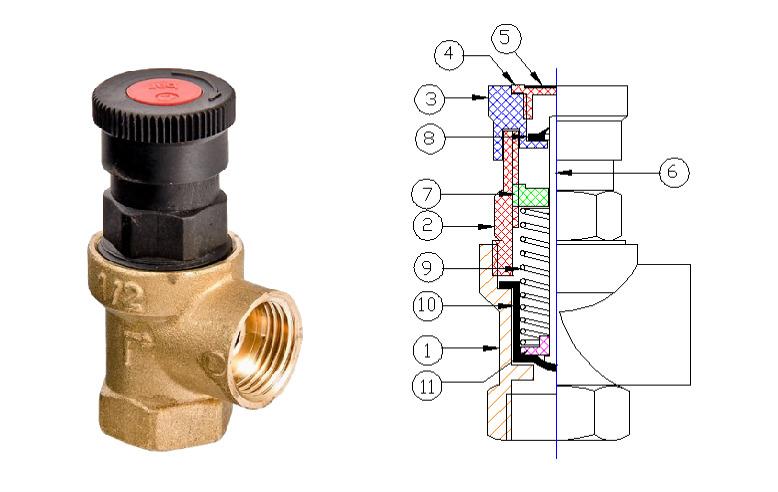 Конструкция предохранительного клапана Valtec VT.0490 диаметром ½.