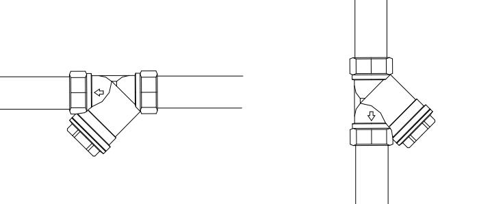 Правильная установка фильтра в вертикальном и горизонтальном положении.