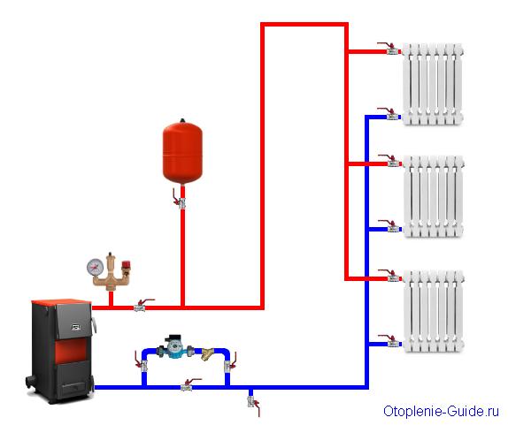 Вертикальная двухтрубная система отопления с боковым подключением.