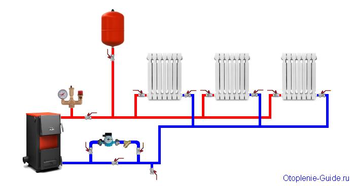 Двухтрубная система отопления с горизонтальной разводкой, нижнее подключение.