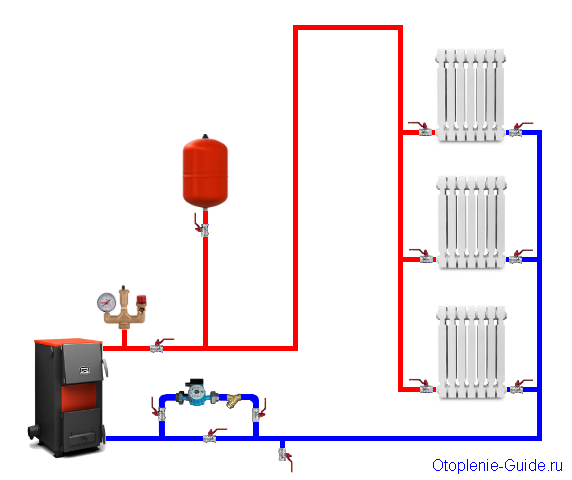 Двухтрубная система с вертикальной разводкой, нижнее подключение.