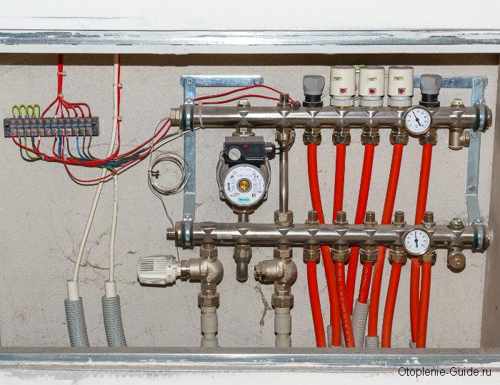 Распределительный шкаф с гребенкой, циркуляционным насосом Wilo, термостатами и электрической частью.