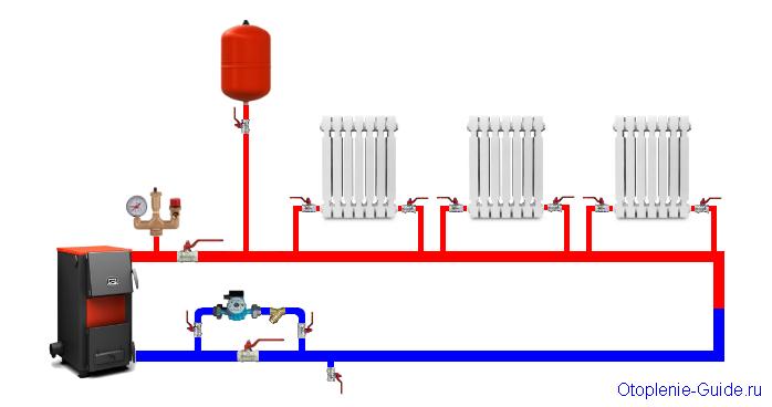 Схема однотрубки с нижним подключением.