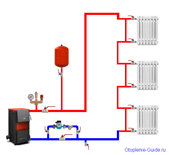 Вертикальная однотрубная схема водяного отопления частного дома.