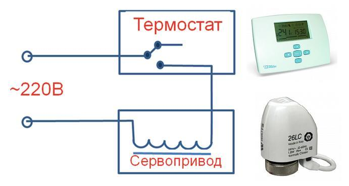 Схема подключения одного электротермического сервопривода Watts 26LC и комнатного термостата Watts milux с ЖК-дисплеем.