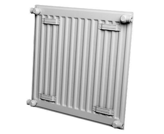 Стальной панельный радиатор, вид сзади, скобы.