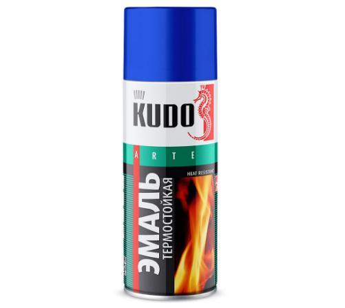 Высокотемпературная эмаль по металлу Kudo (кремнийорганическая). Жаростойкость до +600°С. Объем баллончика 520 мл.